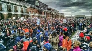 "Several thousand persons at Independence Hall for concluding rally. Photo from Storify, of ""powerinterfaith"""