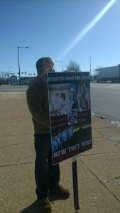 Kyle Moore picketing on 1-31-15