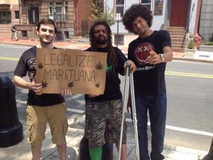 An enthusiastic Kyle Moore takes a picture with NJ Weedman at the very first weekly picket on July 10, 2014, after meeting him for the very first time.  Nearly 8 months later they both took part in nearly all 20 weekly protests in 2014, and co-organized the two largest cannabis rallies in the state, with more on the way.