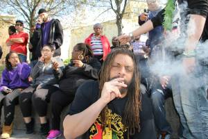 NJ Weedman smoking at 4:20 in Mill Hill Park. (Photo by Vyacheslav)