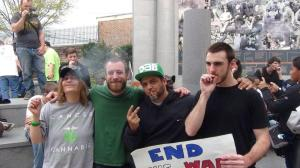 (Left to Right) Cindy Ruggiero, Pat Gaughan, Lefty Grimes, and Kyle Moore smoking shortly after 4:20.