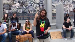 NJ Weedman speaking prior to 4:20, with Kyle Moore on the right.