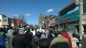 Hundreds marching on April 4. Clergy, local political candidates, and union workers seen marching here.