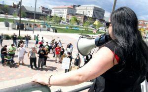 Vanessa Maria speaking at City Hall. (Photo by NJ.com)