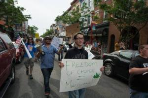 Philly Marijuana March down South Street, May 16. Photo by Mike Whiter.
