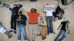 Die-In with Weedman, Cheva, Kyle Moore. Photo from NJ.com