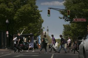 Marching toward State House. Photo from NJ.com.