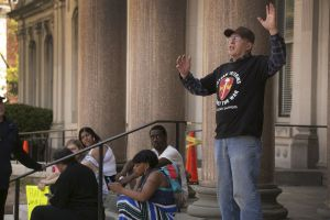 Vietnam Veteran speaking against capitalism, racism and war. Photo from NJ.com.
