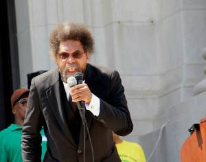 Cornell West speaking at Lincoln Monument on July 25.