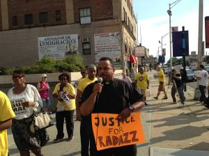 Rev. Lukata Mjumbe of United Mercer Interfaith Organization speaking at 9-9-15 Newark rally. (Photo by POP)