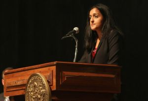 "Acting U.S. Assistant Attorney General Vanita Gupta speaks during a conference, ""Building Trust: Strategies to strengthen police/community relationships"" held in Trenton on Wednesday, September 30, 2015. (Photo by S.P. Sullivan 